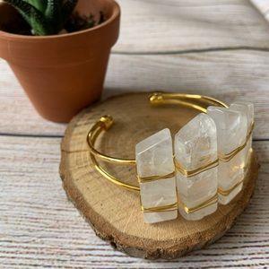 Wire wrapped quartz bracelet